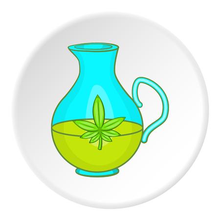 Pitcher of marijuana icon in cartoon style on white circle background. Drug symbol vector illustration Illustration
