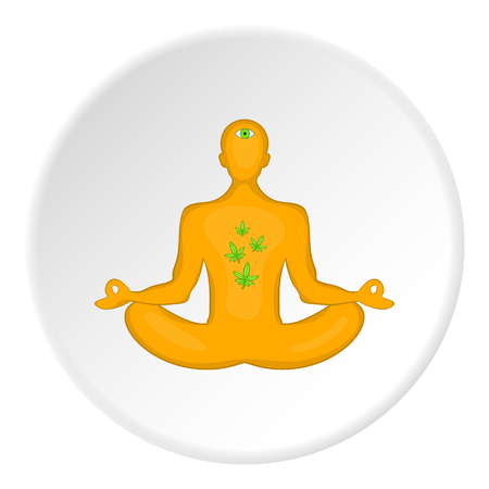 Man in lotus position had smoked marijuana icon in cartoon style on white circle background. Drug symbol vector illustration