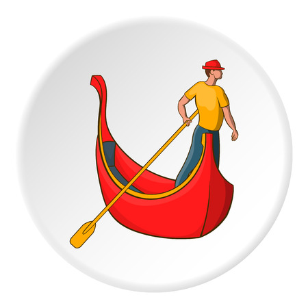 Gondola and gondolier icon in cartoon style on white circle background. Swimming symbol vector illustration