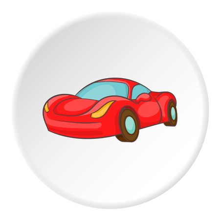 Race car icon in cartoon style on white circle background. Machine symbol vector illustration