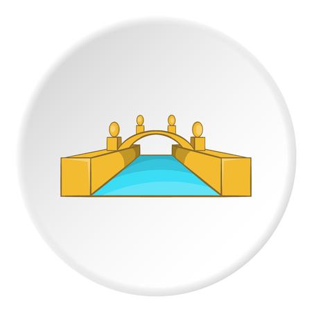 Bridge icon in cartoon style on white circle background. Construction symbol vector illustration