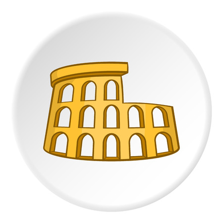 amphitheater: Colosseum icon in cartoon style on white circle background. Landmark symbol vector illustration Illustration