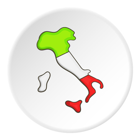 politicians: Map of Italy icon in cartoon style on white circle background. State symbol vector illustration