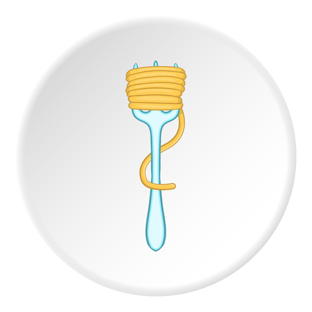 Fork with spaghetti icon in cartoon style on white circle background. Food and dining items symbol vector illustration