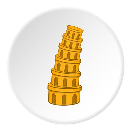 leaning tower of pisa: Leaning tower of Pisa icon in cartoon style on white circle background. Landmark symbol vector illustration