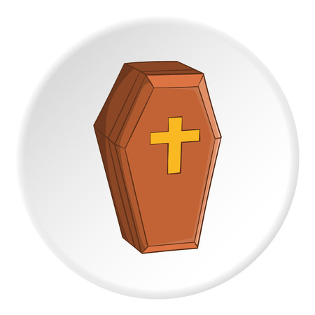 Coffin icon in cartoon style on white circle background. Death symbol vector illustration Illustration