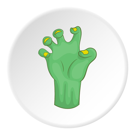 Zombie hand icon in cartoon style on white circle background. Dead symbol vector illustration Illustration