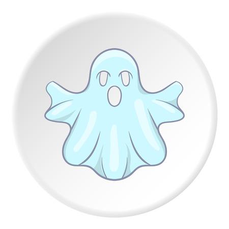 Ghost icon in cartoon style on white circle background. Entertainment symbol vector illustration Illusztráció