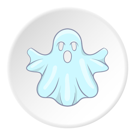 Ghost icon in cartoon style on white circle background. Entertainment symbol vector illustration Vettoriali