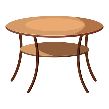 Round table icon in cartoon style isolated on white background. Furniture symbol vector illustration Vettoriali