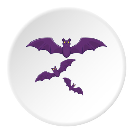 superstitious: Bats icon in cartoon style on white circle background. Fly symbol vector illustration