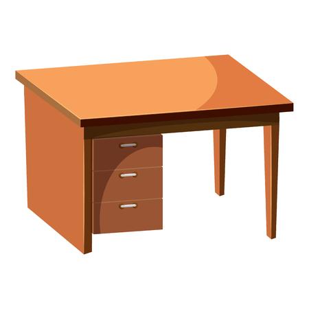 Computertischikone im Karikaturart lokalisiert auf weißem Hintergrund. Möbel Symbol Vektor-Illustration