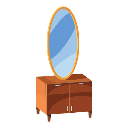Chest of drawers with mirror icon in cartoon style isolated on white background. Furniture symbol vector illustration Illustration