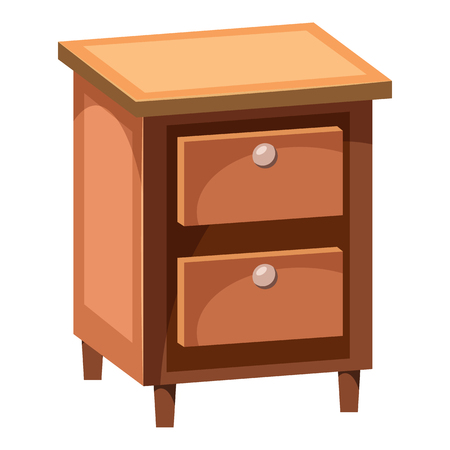 Chest of drawers icon in cartoon style isolated on white background. Furniture symbol vector illustration