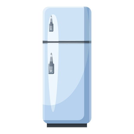 food storage: White refrigerator with separate freezer icon in cartoon style isolated on white background. Food storage symbol vector illustration