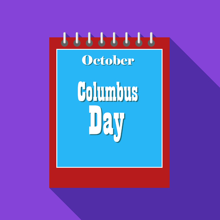 calendar october: Calendar october of Columbus day icon in flat style with long shadow. Date symbol vector illustration