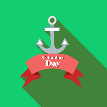Anchor and ribbon of Columbus day icon in flat style with long shadow. Holiday symbol vector illustration Illustration