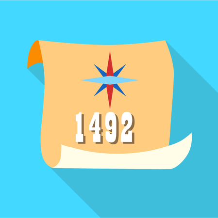 Scroll with date 1492 of Columbus day icon in flat style with long shadow. Holiday symbol vector illustration