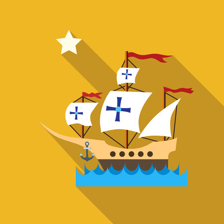 christopher columbus: Ship with flag of Columbus in sea icon in flat style with long shadow. Maritime transport symbol vector illustration