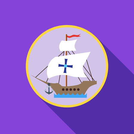 Ship with flag of Columbus icon in flat style with long shadow. Maritime transport symbol vector illustration Illustration