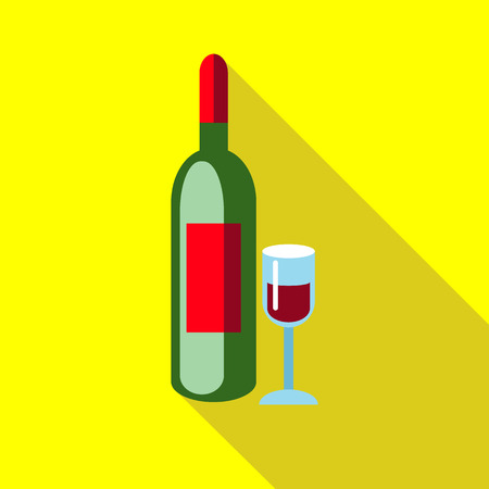 elite: Elite red wine with glass icon in flat style with long shadow. Drink symbol vector illustration