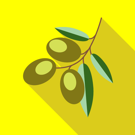 mediterranean diet: Branch with olives icon in flat style with long shadow. Food symbol vector illustration