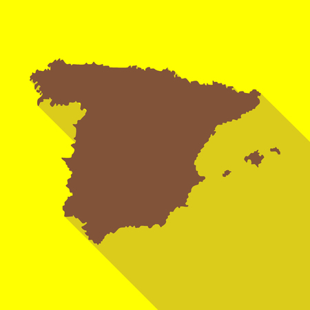 Map of Spain icon in flat style with long shadow. Territory symbol vector illustration