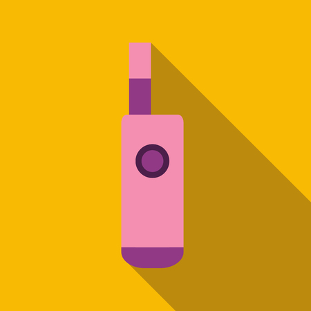 Pink electronic cigarette icon in flat style with long shadow. Smoking symbol vector illustration