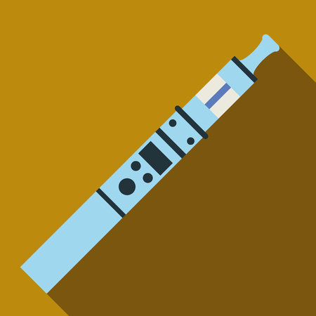 electronic cigarette: Ultra modern electronic cigarette icon in flat style with long shadow. Smoking symbol vector illustration