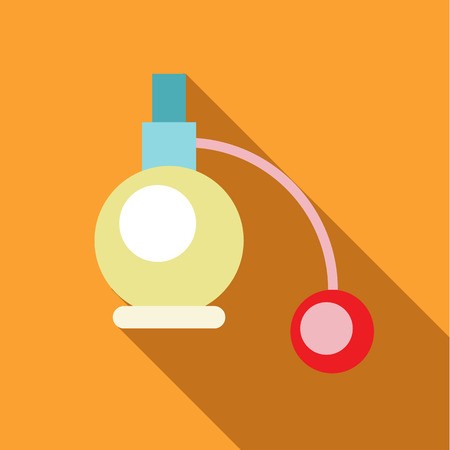atomizer: Perfume atomizer icon in flat style with long shadow. Aroma symbol vector illustration