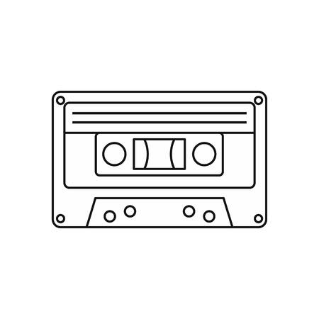 casette: Audio cassette icon in outline style isolated on white background vector illustration Illustration
