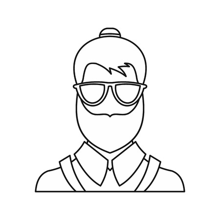 indy: Bearded hipster face icon in outline style isolated on white background vector illustration