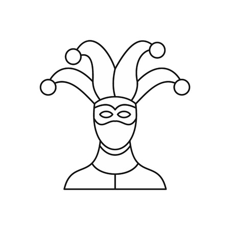 hamlet: Jester icon in outline style isolated on white background vector illustration