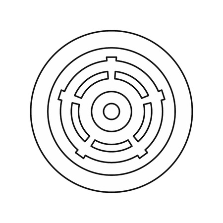 Car wheel icon in outline style isolated on white background vector illustration