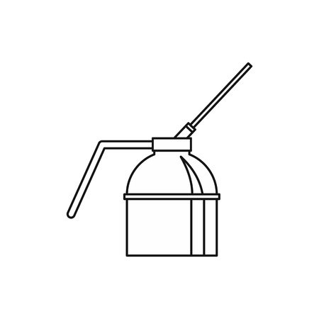 recipient: Spout oiler can applicator icon in outline style isolated on white background vector illustration