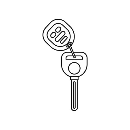 Car alarm and key icon in outline style isolated on white background vector illustration