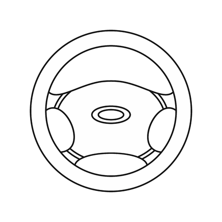 mobil: Steering wheel icon in outline style isolated on white background vector illustration