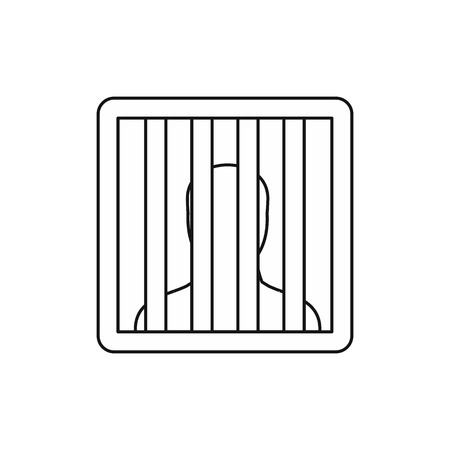 confined: Prisoner behind bars icon in outline style isolated on white background vector illustration