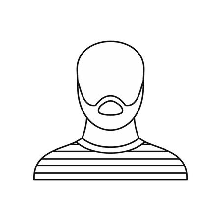 imprisoned: Thief criminal prisioner icon in outline style isolated on white background vector illustration