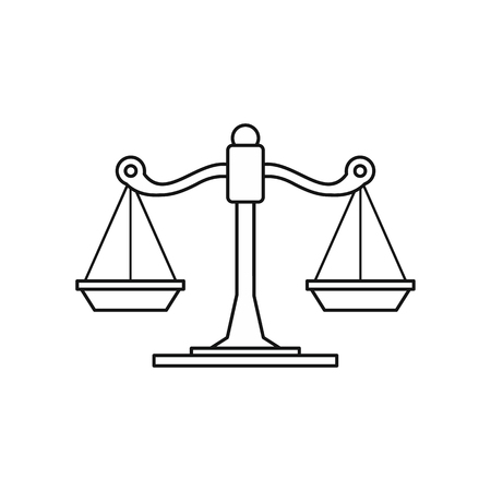 acquittal: Scales icon in outline style isolated on white background vector illustration Illustration
