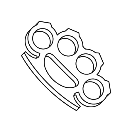 knuckles: Brass knuckles icon in outline style isolated on white background vector illustration