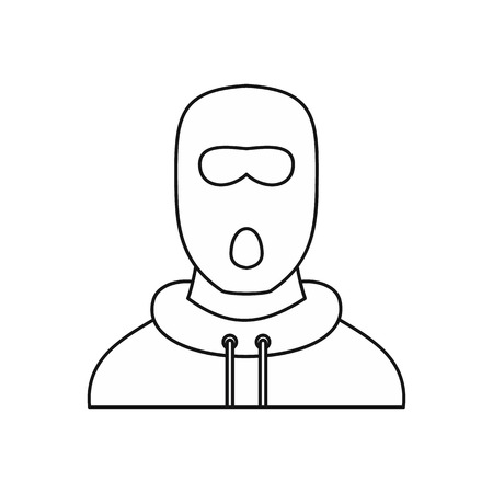 lawbreaker: Man in balaclava mask icon in outline style isolated on white background vector illustration Illustration