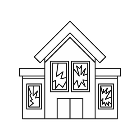 broken house: House with broken windows icon in outline style isolated on white background vector illustration