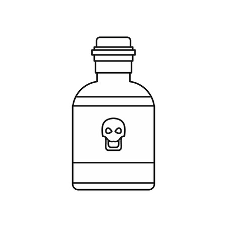bane: Bottle of poison icon in outline style isolated on white background vector illustration