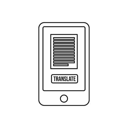 translate: Translate application on a smartphone icon in outline style on a white background vector illustration Illustration