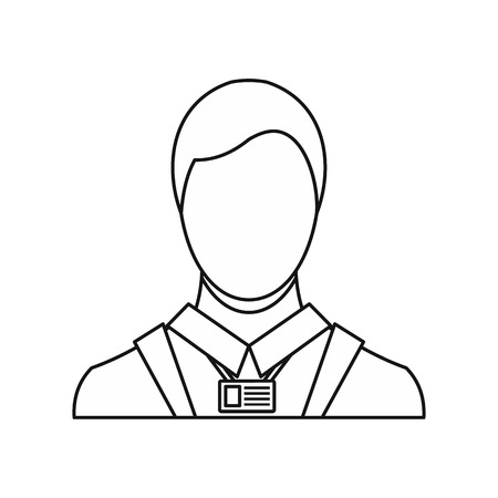 lexicon: Businessman with identity name card icon in outline style on a white background vector illustration