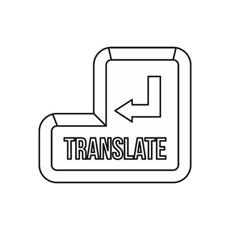 lexicon: Translate button icon in outline style on a white background vector illustration