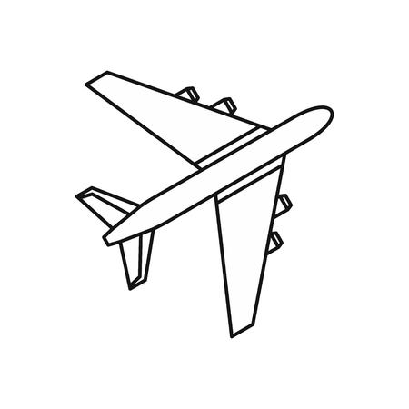 pilot  cockpit: Passenger airliner icon in outline style on a white background vector illustration Illustration