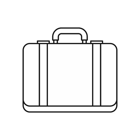 lugage: Suitcase icon in outline style on a white background vector illustration