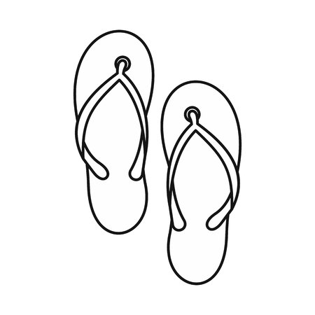 thongs: Beach thongs icon in outline style on a white background vector illustration